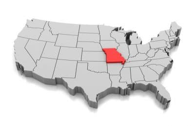 State of Missouri highlighted on US map