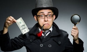 Man in funny hat, glasses and pipe, holding hundred dollar bill