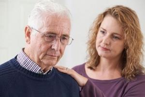 Older confused manwith concerned daughter