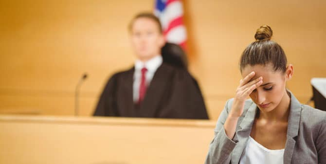 Female attorney in courtroom