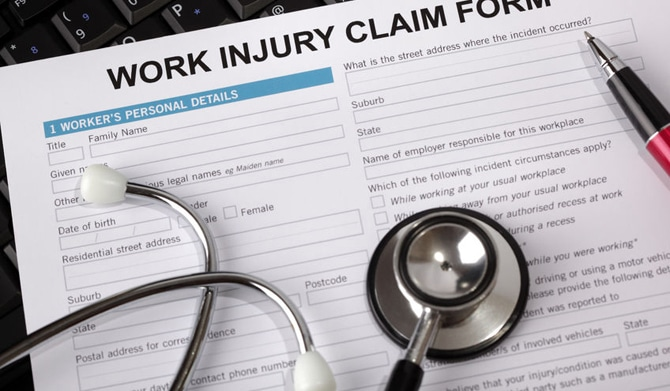 Workers compensation form with stethescope