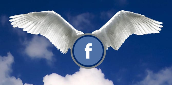 facebook icon with large angel wings, sky in background