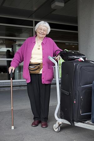 Senior woman travelling