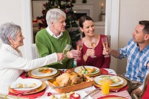 Family sharing holiday meal
